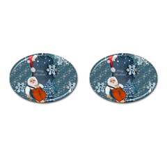 Funny Santa Claus With Snowman Cufflinks (oval)