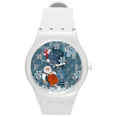 Funny Santa Claus With Snowman Round Plastic Sport Watch (m)
