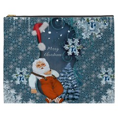 Funny Santa Claus With Snowman Cosmetic Bag (xxxl)