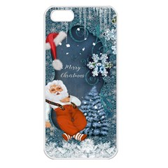 Funny Santa Claus With Snowman Apple Iphone 5 Seamless Case (white)