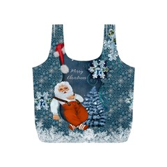 Funny Santa Claus With Snowman Full Print Recycle Bags (s)