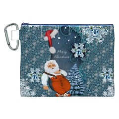 Funny Santa Claus With Snowman Canvas Cosmetic Bag (xxl)