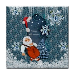 Funny Santa Claus With Snowman Tile Coasters