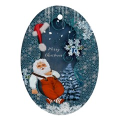 Funny Santa Claus With Snowman Ornament (oval)