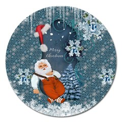 Funny Santa Claus With Snowman Magnet 5  (round)