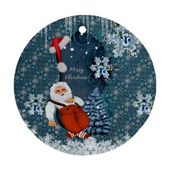 Funny Santa Claus With Snowman Round Ornament (two Sides)
