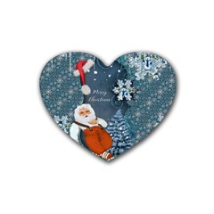 Funny Santa Claus With Snowman Heart Coaster (4 Pack)