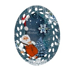 Funny Santa Claus With Snowman Oval Filigree Ornament (two Sides)