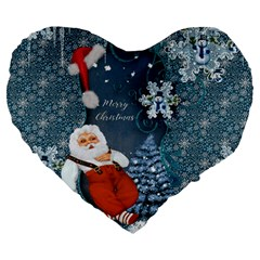 Funny Santa Claus With Snowman Large 19  Premium Heart Shape Cushions