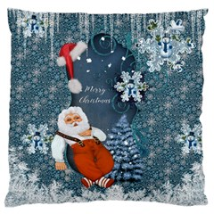 Funny Santa Claus With Snowman Large Flano Cushion Case (one Side)