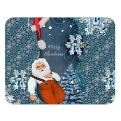 Funny Santa Claus With Snowman Double Sided Flano Blanket (large)