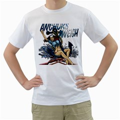 Navy Anchor s Aweigh Pinup Girl Men s T Shirt (white) (two Sided)