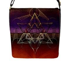 Cube Of Metatrone Diamond Flap Messenger Bag (l)