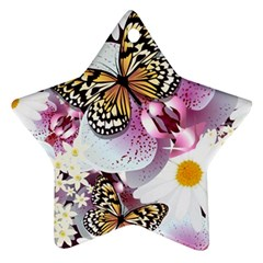 Butterflies With White And Purple Flowers  Ornament (star)
