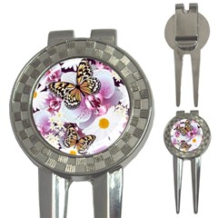 Butterflies With White And Purple Flowers  3 In 1 Golf Divots