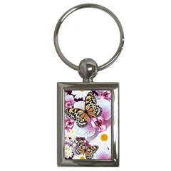 Butterflies With White And Purple Flowers  Key Chains (rectangle)