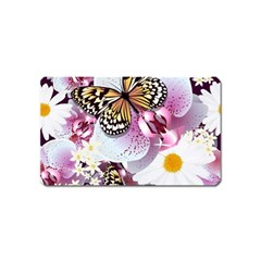 Butterflies With White And Purple Flowers  Magnet (name Card)
