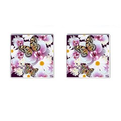 Butterflies With White And Purple Flowers  Cufflinks (square)