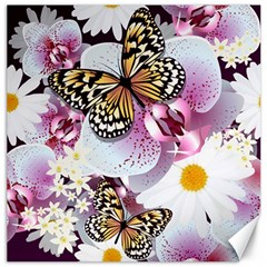 Butterflies With White And Purple Flowers  Canvas 16  X 16