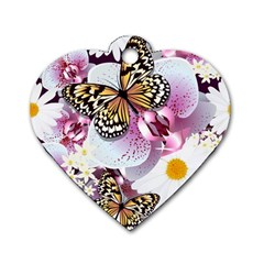 Butterflies With White And Purple Flowers  Dog Tag Heart (one Side)