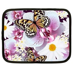 Butterflies With White And Purple Flowers  Netbook Case (xxl)