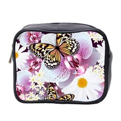 Butterflies With White And Purple Flowers  Mini Toiletries Bag 2 Side