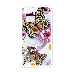 Butterflies With White And Purple Flowers  Apple Iphone 4 Case (white)