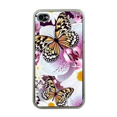Butterflies With White And Purple Flowers  Apple Iphone 4 Case (clear)