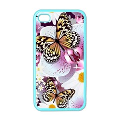 Butterflies With White And Purple Flowers  Apple Iphone 4 Case (color)