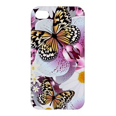 Butterflies With White And Purple Flowers  Apple Iphone 4/4s Hardshell Case