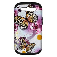 Butterflies With White And Purple Flowers  Samsung Galaxy S Iii Hardshell Case (pc+silicone)