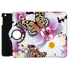 Butterflies With White And Purple Flowers  Apple Ipad Mini Flip 360 Case