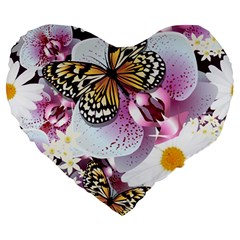 Butterflies With White And Purple Flowers  Large 19  Premium Heart Shape Cushions