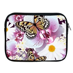 Butterflies With White And Purple Flowers  Apple Ipad 2/3/4 Zipper Cases