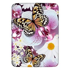 Butterflies With White And Purple Flowers  Samsung Galaxy Tab 3 (10 1 ) P5200 Hardshell Case