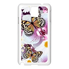 Butterflies With White And Purple Flowers  Samsung Galaxy Note 3 N9005 Case (white)