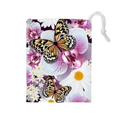 Butterflies With White And Purple Flowers  Drawstring Pouches (large)
