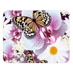 Butterflies With White And Purple Flowers  Double Sided Flano Blanket (large)