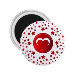 Monogram Heart Pattern Love Red 2 25  Magnets
