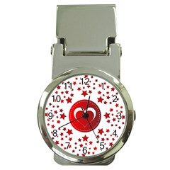 Monogram Heart Pattern Love Red Money Clip Watches