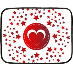 Monogram Heart Pattern Love Red Fleece Blanket (mini)