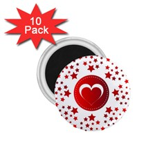 Monogram Heart Pattern Love Red 1 75  Magnets (10 Pack)