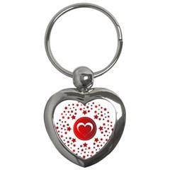 Monogram Heart Pattern Love Red Key Chains (heart)