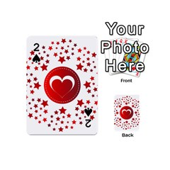 Monogram Heart Pattern Love Red Playing Cards 54 (mini)