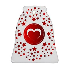 Monogram Heart Pattern Love Red Bell Ornament (two Sides)