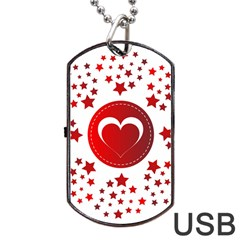 Monogram Heart Pattern Love Red Dog Tag Usb Flash (two Sides)