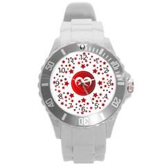 Monogram Heart Pattern Love Red Round Plastic Sport Watch (l)