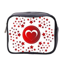 Monogram Heart Pattern Love Red Mini Toiletries Bag 2 Side