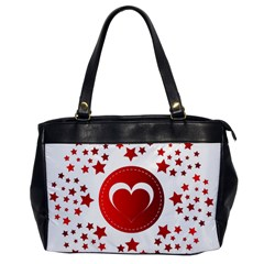 Monogram Heart Pattern Love Red Office Handbags