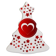 Monogram Heart Pattern Love Red Christmas Tree Ornament (two Sides)